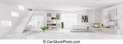 appartement, render, panorama, intérieur, blanc, 3d