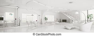 appartement, render, panorama, moderne, intérieur, blanc, 3d