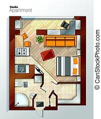 appartement, sommet, moderne, illustration, vecteur, studio, vue