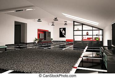 appartement terrasse, intérieur, 3d