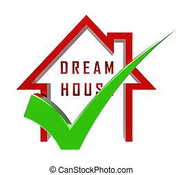 appartement, ton, moyens, maison, -, illustration, ou, conclusion, icône, rêve, dreamhouse, 3d