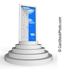 appartement, ton, moyens, maison, -, illustration, ou, porte, conclusion, icône, rêve, dreamhouse, 3d