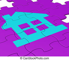 appartement, ton, moyens, maison, puzzle, -, illustration, dreamhouse, conclusion, rêve, ou, 3d