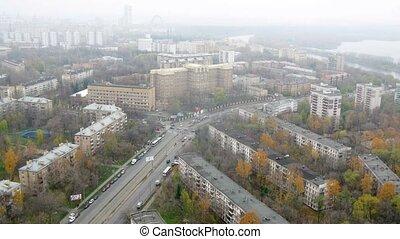appartement, voitures, maisons, après-midi, aller, autoroute