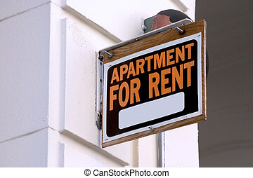 appartement voor huur, meldingsbord