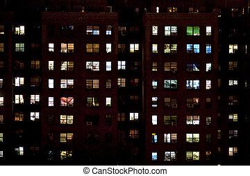 appartements, bloc, nuit