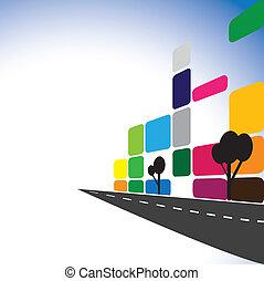 appartements, concept, propriété, bâtiments, skyscrapers., moderne, industrie, bâtiment, ville, bureau, -, aussi, routes, vrai, coloré, commercial, illustration, en ville, complexes, représente, graphique, vecteur
