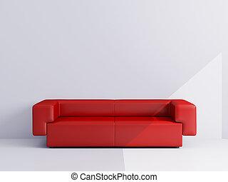 appartements, rouges, sofa