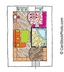 appartements, sommet, -, conception, vue intérieur