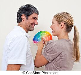 appartment, leur, couleur, couple, peinture, échantillons, nouveau