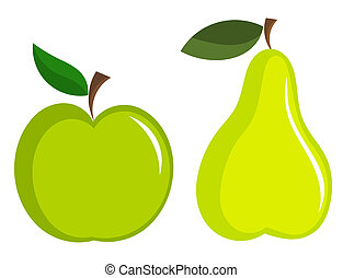 Green apple and pear vector icons