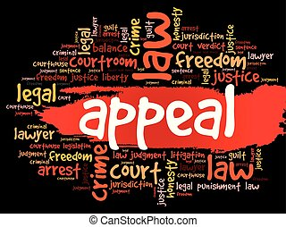 Appeal word cloud collage, law concept background