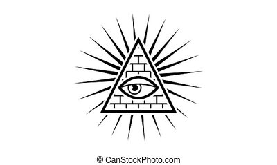 Appearance. All seeing eye. Sign Masons. White background....