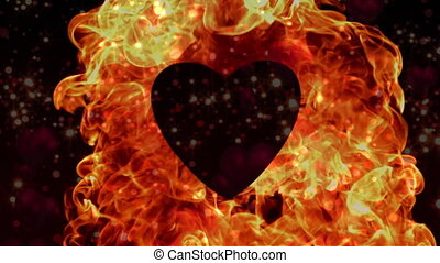 Appearance of heart with flame on a red backdrop