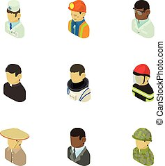 Appearance of people icons set, isometric style