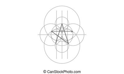Appearance. Pentacle magic sign black color. Drawn lines....