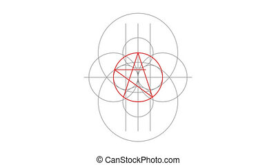 Appearance. Pentacle magic sign red color. Drawn lines....