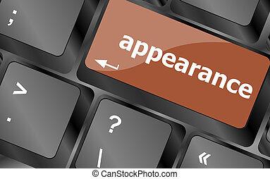 appearance word on computer keyboard key