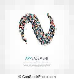 appeasement people 3d - Isometric set of styles, appeasement...
