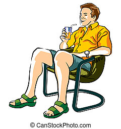Appeasing the thirst - Man sitting in a lawn chair drinking...