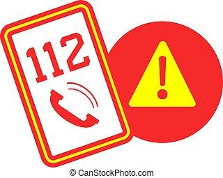 appel alarme, symbole, 112