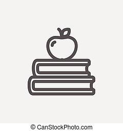 appel, bovenzijde, drie, boekjes , dune lijn, pictogram