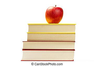 appel, bovenzijde, enig, vrijstaand, boekjes , achtergrond, wit rood