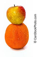 appel, bovenzijde, schreeuw, orange., studio, achtergrond, witte