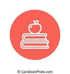 appel, bovenzijde, twee, boekjes , dune lijn, pictogram