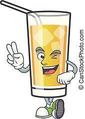 appel cider, spotprent, vinger, karakter, twee