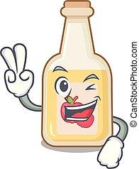 appel cider, vrijstaand, twee, vinger, mascotte