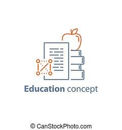 appel, concept, vervulling, bovenzijde, cursus, boekjes , leren, opleiding, stapel