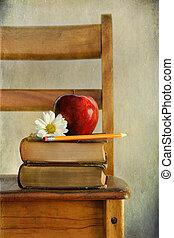 appel, en, boekjes , op, oud, school, stoel