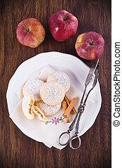 appel, gevulde, cookies.