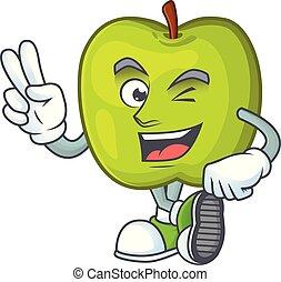 appel, karakter, smith, twee, groene, vinger, oma, mascotte