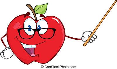 appel, leraar, met, een, wijzer