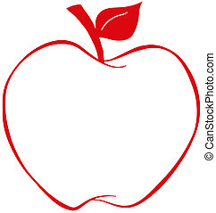 appel, met, rood, schets