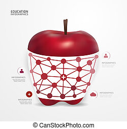appel, moderne, infographic, ontwerp, stijl, opmaak, /, mal, infographics, cutout, minimaal, website, zijn, gebruikt, horizontaal, genummerde, grafisch, lijnen, vector, groenteblik, banieren, of, punt
