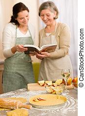 appel, recept, pastei, twee, het kijken, cookbook, vrouwen