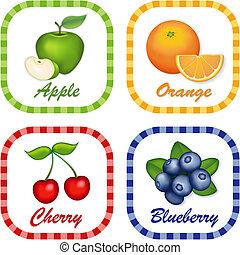 appel, sinaasappel, kers, bosbes