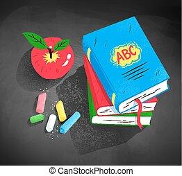 appel, stukken, krijt, boekjes , stapel, rood