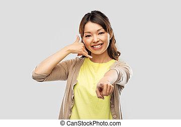 appel téléphonique, asiatique, africaine, confection, geste