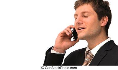 appel téléphonique, homme affaires, confection, jeune
