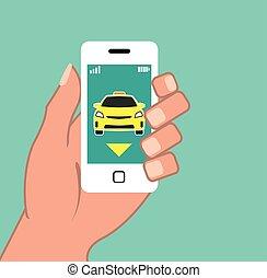 appel téléphonique, intelligent, taxi