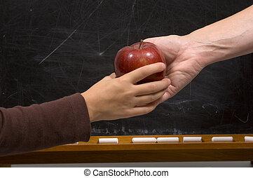 appel, voor, leraar, -, handdruk, variatie