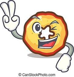 appel, vrijstaand, twee, vinger, frites, mascotte