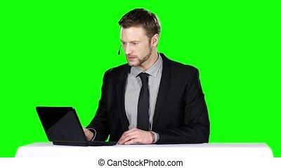appeler, écran, vert, centre, operator.