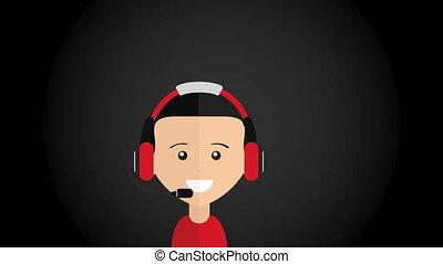 appeler, animation, vidéo, centre, conception