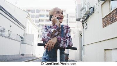 appeler, femme, mélangé, scooter, électrique, course, ...