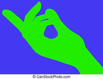 appeler geste, doigts verts